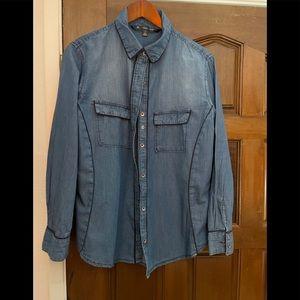 Shape enhancing denim long sleeve shirt